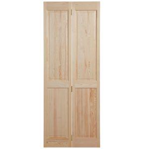 Image of 4 Panel Clear Pine Unglazed Internal Bi-Fold Door (H)1981mm (W)762mm