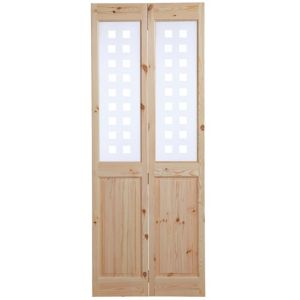 View 4 Panel Knotty Pine Glazed Internal Bi-Fold Door, (H)1981mm (W)762mm details