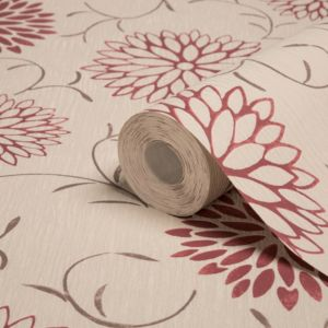 View Romantic Cream & Red Wallpaper details