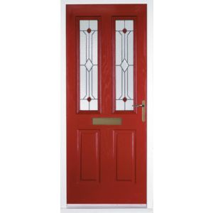 View Kingston Red GRP Partially Glazed LH Front Door & Frame (H)2055mm (W)920mm details