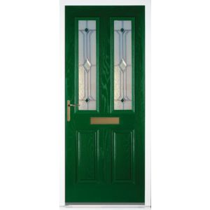 View Kingston Green GRP Partially Glazed RH Front Door & Frame (H)2055mm (W)920mm details