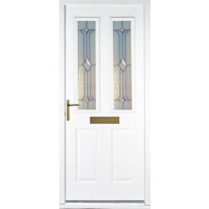 View Kingston White GRP Partially Glazed RH Front Door & Frame (H)2055mm (W)920mm details