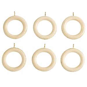 View Colours Modern Cream Wood Curtain Ring (Dia)35mm details