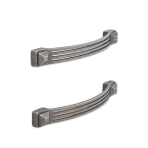 View Antique Pewter Effect Bow Handle Pack of 2 details