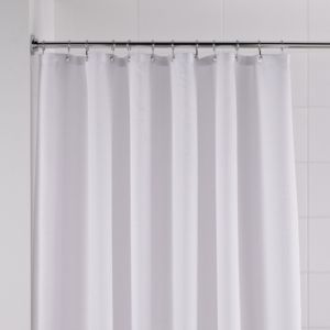 View B&Q White Waffle Shower Curtain details