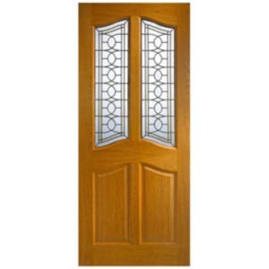 View Serna Oak Veneer Partially Glazed External Front Door, (H)2032mm (W)813mm details