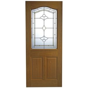 View Romero Oak Veneer Partially Glazed External Front Door, (H)2032mm (W)813mm details