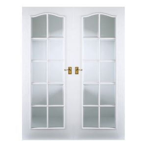 View Chateau 10 Lite Frosted Glazed Moulded Internal French French Door, (H)1981mm (W)1168mm details