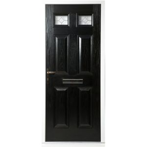 View Westminster Black GRP Partially Glazed RH Front Door & Frame (H)2055mm (W)920mm details