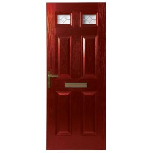 View Westminster Red GRP Partially Glazed RH Front Door & Frame (H)2055mm (W)920mm details