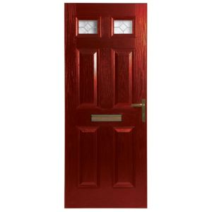 View Westminster Red GRP Partially Glazed LH Front Door & Frame (H)2055mm (W)920mm details