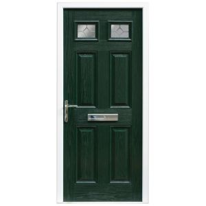 View Westminster Green GRP Partially Glazed RH Front Door & Frame (H)2055mm (W)920mm details