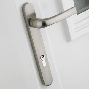 View B&Q Satin Chrome Effect Straight External Locking Door Handle,  Pack of 1 Pair details