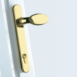 View B&Q Gold Effect Straight Internal Locking Door Handle, Pack of 1 Pair details