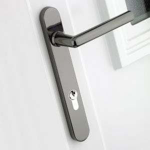 View B&Q Smokey Chrome Effect Straight External Locking Door Handle,  Pack of 1 Pair details