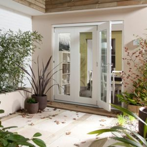 View Pre-Finished White Glazed Folding Sliding Patio Doors, (H)2105mm (W)1805mm details