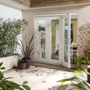 View Pre-Finished White Glazed Folding Sliding Patio Doors, (H)2105mm (W)2105mm details