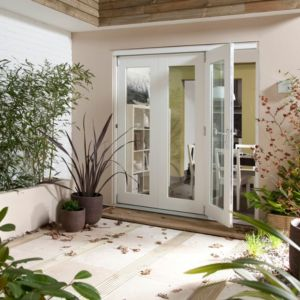 View Pre-Finished White Glazed Folding Sliding Patio Doors, (H)2105mm (W)2405mm details