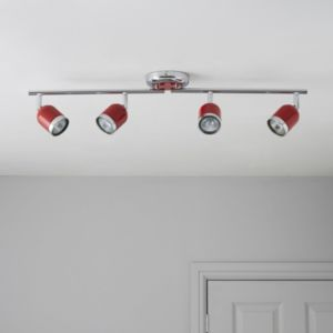 View Edge Retro Red Gloss 4 Lamp Bar Spotlight details