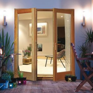 View Clear Glazed Oak Veneer External French Door Set, (H)2100mm (W)1200mm details