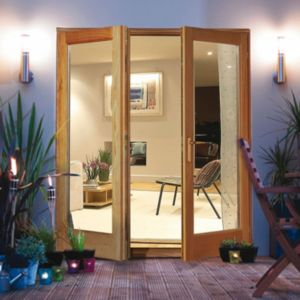 View Clear Glazed Oak Veneer External French Door Set, (H)2100mm (W)1500mm details