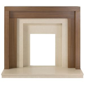 View Rochester Walnut Veneer Cream Fire Surround Set details