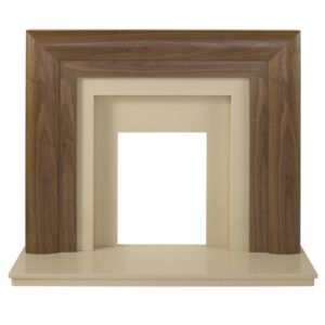 View Beaumont Walnut Veneer Marfil Stone Micro Marble Fire Surround Set details