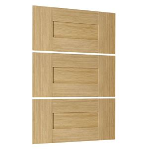 View Cooke & Lewis Ferrara Oak Style Shaker 3 Drawer Combi Front Pack details