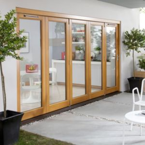 View Solid Laminated Oak Glazed Folding Sliding Patio Doors, (H)2104mm (W)3004mm details