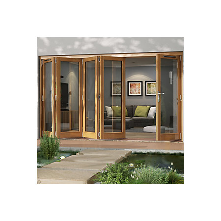 Solid Laminated Oak Glazed Folding Sliding Patio Doors H
