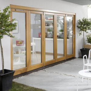 View Solid Laminated Oak Glazed Folding Sliding Patio Doors, (H)2104mm (W)3604mm details