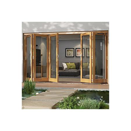 Solid laminated oak glazed folding sliding patio doors h for Solid patio doors