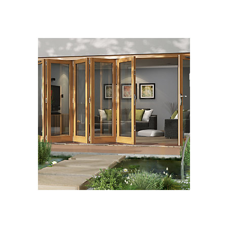 Solid Laminated Oak Glazed Folding Sliding Patio Doors H