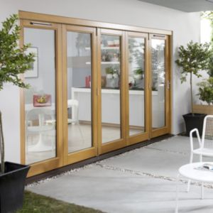View Solid Laminated Oak Glazed Folding Sliding Patio Doors, (H)2104mm (W)4204mm details