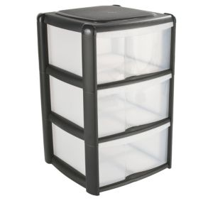View B&Q Black Plastic 3 Drawer Tower Unit details