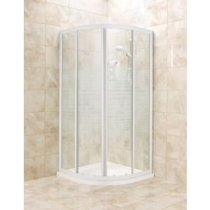View Quadrant Shower Enclosure with White Frame & Corner Entry Sliding Door (W)800mm (D)800mm details