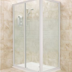 View B&Q Rectangular Shower Enclosure with White Frame & Single Sliding Door (W)1200mm (D)760mm details