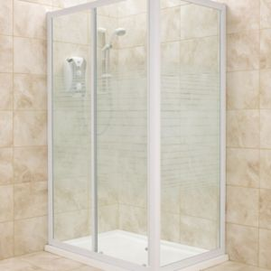 View B&Q Rectangular Shower Enclosure with White Frame & Single Sliding Door (W)1200mm (D)800mm details