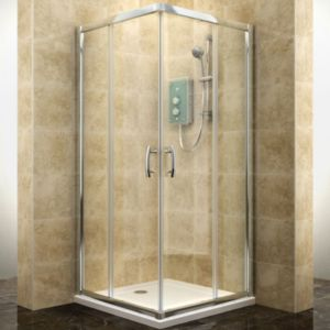 View Cooke & Lewis Deluvio Square Shower Enclosure with Corner Entry Sliding Door (W)800mm (D)800mm details