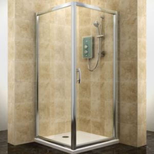 View Cooke & Lewis Deluvio Square Shower Enclosure with Hinged Door (W)760mm (D)760mm details