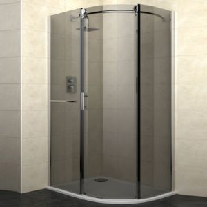 View Cooke & Lewis Eclipse Offset Quadrant LH Shower Enclosure with Single Sliding Door & Smoked Glass (W)1200mm (D)900mm details