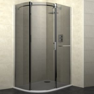 View Cooke & Lewis Eclipse Offset Quadrant RH Shower Enclosure with Single Sliding Door & Smoked Glass (W)1200mm (D)900mm details