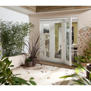 View Pre-Finished White Glazed Folding Sliding Patio Doors, (H)2105mm (W)3005mm details