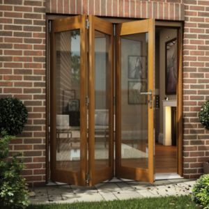 View Oak Veneer Glazed Folding Sliding Patio Doors, (H)2105mm (W)1805mm details