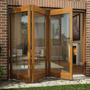 Oak Veneer Timber Folding Sliding Doors Folding Patio Doors External Do