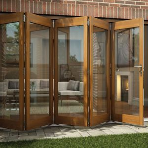 View Oak Veneer Glazed Folding Sliding Patio Doors, (H)2105mm (W)3605mm details