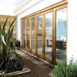 View Oak Veneer Glazed Folding Sliding Patio Doors, (H)2105mm (W)4205mm details