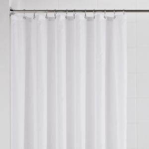 View B&Q Value White Plain Shower Curtain details