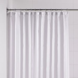 View B&Q White Stripe Shower Curtain details