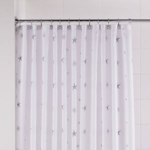 View B&Q Silver & White Twinkle Stars Shower Curtain details